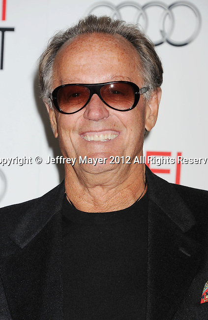 HOLLYWOOD, CA - NOVEMBER 01: Peter Fonda arrives at the opening night gala premiere of 'Hitchcock' during the 2012 AFI FEST at Grauman's Chinese Theatre on November 1, 2012 in Hollywood, California.