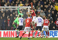 Preston North End's Declan Rudd makes a save<br /> <br /> Photographer Mick Walker/CameraSport<br /> <br /> The EFL Sky Bet Championship - Nottingham Forest v Preston North End - Saturday 8th December 2018 - The City Ground - Nottingham<br /> <br /> World Copyright © 2018 CameraSport. All rights reserved. 43 Linden Ave. Countesthorpe. Leicester. England. LE8 5PG - Tel: +44 (0) 116 277 4147 - admin@camerasport.com - www.camerasport.com