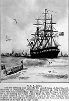 U.S.S. Alfred.  The first battleship ever owned by the United States of America, commissioned at Philadelphia, Pennsylvania, December 23, 1775, Lieutenant John Paul Jones commanding.  Copy of artwork by Harry W. Carpenter, 1920. (Bureau of Ships)<br />NARA FILE #:  019-N-9977-A<br />WAR & CONFLICT #:  43