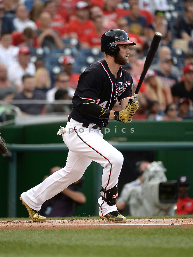 Washington Nationals Bryce Harper (34) during a game against the Cincinnati Reds on July 1, 2016 at Nationals Park in Washington DC. The Nationals beat the Reds 3-2.