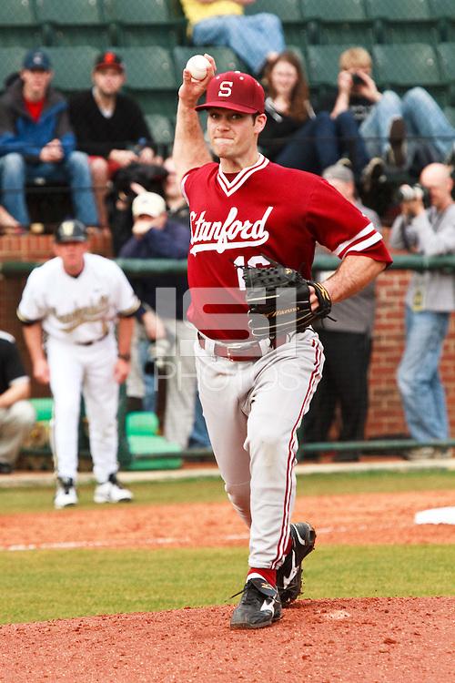 NASHVILLE, TENNESSEE-Feb. 27, 2011:  Starter Jordan Pries of Stanford makes a pick-off throw during the game at Vanderbilt.  Stanford defeated Vanderbilt 5-2.