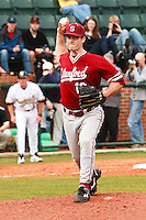 NASHVILLE, TENNESSEE-Feb. 27, 2011:  Starter Jordan Pries of Stanford makes a pick-off throw during the game at Vanderbilt.  Stanford defeated Vanderbilt 5-2.