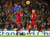 30th January 2019, Anfield, Liverpool, England; EPL Premier League football, Liverpool versus Leicester City; Sadio Mane of Liverpool and Demarai Gray of Leicester City compete for  the ball in the air