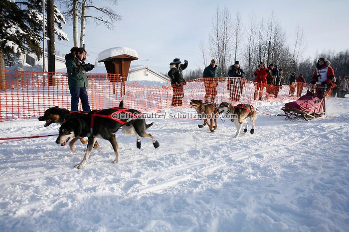 Sunday February 27, 2010   Emily Krol leaves the start line of the Junior Iditarod at Willow Lake , Alaska