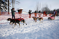 Sunday February 27, 2010   Emily Krol leaves the start line of the Junior Iditarod at Willow Lake , Alaska
