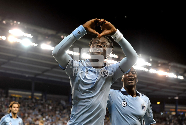 Sporting KC midfielder Kei Kamara celebrates his opening goal... Sporting Kansas City defeat Columbus Crew 2-1 at LIVESTRONG Sporting Park, Kansas City, Kansas.