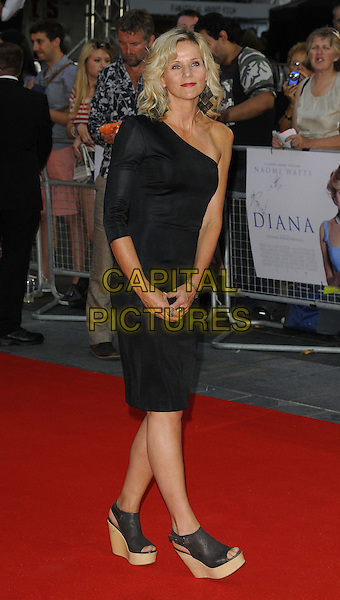 Linda Barker<br /> The World Premiere of 'Diana', Odeon Leicester Square, London, England.<br /> 5th September 2013<br /> film arrivals full length dress wedges shoes platform open toe black one shoulder sleeve  <br /> CAP/CAN<br /> &copy;Can Nguyen/Capital Pictures