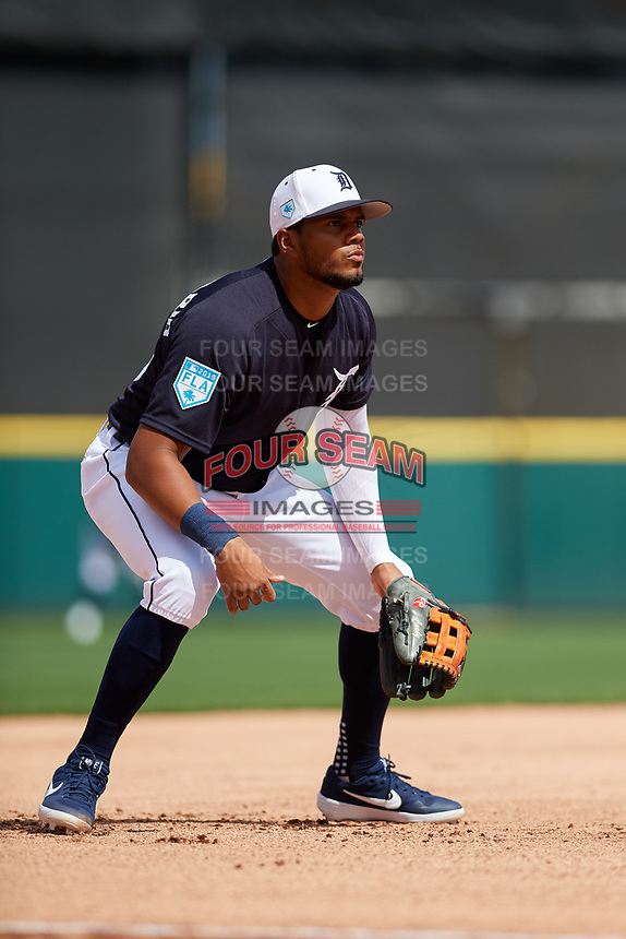 Detroit Tigers third baseman Jeimer Candelario (46) during a Grapefruit League Spring Training game against the New York Yankees on February 27, 2019 at Publix Field at Joker Marchant Stadium in Lakeland, Florida.  Yankees defeated the Tigers 10-4 as the game was called after the sixth inning due to rain.  (Mike Janes/Four Seam Images)