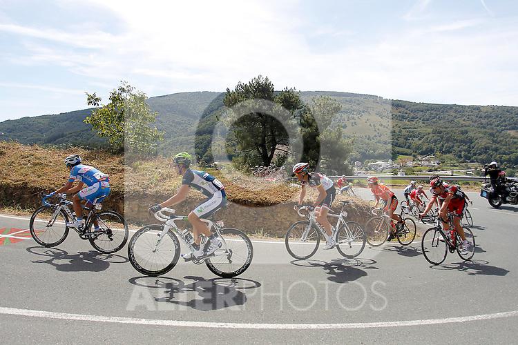 Alberto Losada (katusha Team), Javi Moreno (movistar Team), Ben Gastauer and Blel Kadri (Ag2r), Adrian Palomares (Andalucia), Alessandro Ballan (BMC), David Moncoutie and Rudy Molard (Cofidis) Amets Txurruka (Euskaltel-Euskadi), Maciej Paterski (Liquigas_Cannondale), Dario Cataldo and Serge Pauwels (Omega Phar,a-QuickStep), Simon Clarke (Orica-GreenEdge), Juanma Garate (Rabobank) and Jan Bakelants and Laurent Didier (RadioShack-Nissan) escapees during the stage of La Vuelta 2012 between Palas de Rei and Puerto de Ancares.September 1,2012. (ALTERPHOTOS/Paola Otero)