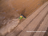 63801-09605 Soybean Harvest, John Deere combine harvesting soybeans - aerial - Marion Co. IL