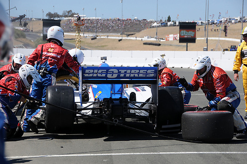 26-28 August, 2011, Sonoma, California USA<br /> Graham Rahal pit stop.<br /> (c)2011, Paul Webb<br /> LAT Photo USA