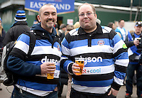 Bath Rugby supporters pose for a photo. European Rugby Champions Cup match, between Bath Rugby and Glasgow Warriors on January 25, 2015 at the Recreation Ground in Bath, England. Photo by: Clare Green for Onside Images