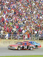 A.J. Foyt 14 Richard Petty 43 action Daytona 500 at Daytona International Speedway in Daytona Beach, FL in February 1986. (Photo by Brian Cleary/www.bcpix.com) Daytona 500, Daytona International Speedway, Daytona Beach, FL, February 16, 1986.  (Photo by Brian Cleary/www.bcpix.com)