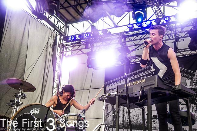Kim Schifino and Matt Johnson of Matt & Kim perform during Day 3 of the 2013 Firefly Music Festival in Dover, Delaware.