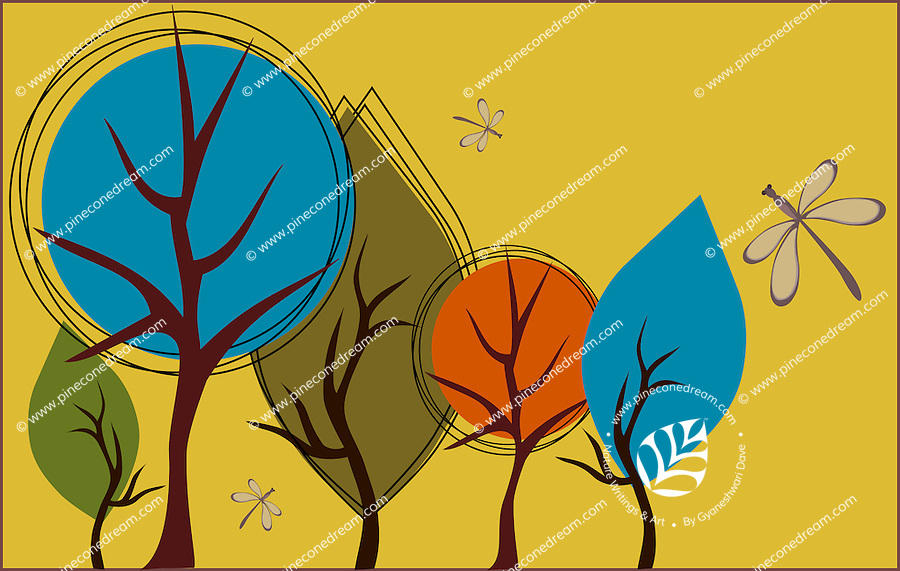 Stock vector: Whimsical vibrant colored graphical trees and dragonfly background. Suitable for fall or autumn themes.<br /> <br /> Also available in EPS(Scalable to infinite size) & PNG formats.