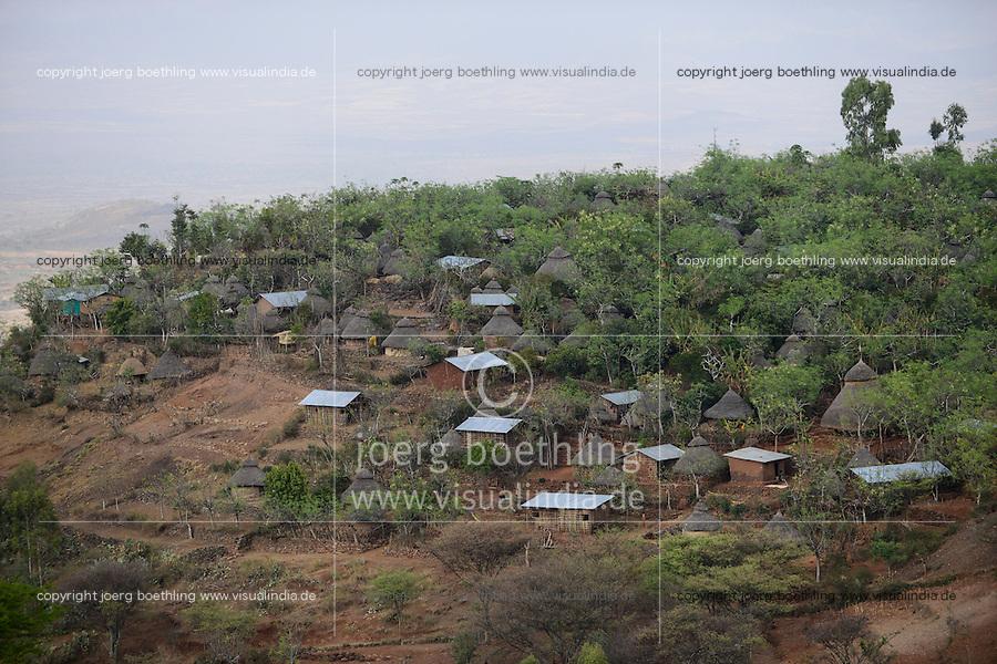ETHIOPIA, Southern Nations, Lower Omo valley / AETHIOPIEN, Omo Tal, Terrassen Dorf Konso, UNESCO Welterbe