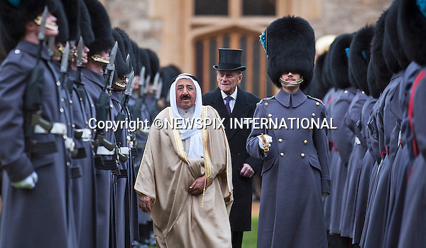 "STATE VISIT BY THE AMIR OF KUWAIT.The Amir of the State of Kuwait, accompanied by The Duke of Edinburgh, reviewed a Guard of Honour in the quadrangle of Windsor Castle at the start of the State Visit to the United Kingdom..The Amir was the guest of the Queen and stayed at Windsor castle_27/11/2012.Mandatory Credit Photo: ©A Harlen/NEWSPIX INTERNATIONAL..**ALL FEES PAYABLE TO: ""NEWSPIX INTERNATIONAL""**..IMMEDIATE CONFIRMATION OF USAGE REQUIRED:.Newspix International, 31 Chinnery Hill, Bishop's Stortford, ENGLAND CM23 3PS.Tel:+441279 324672  ; Fax: +441279656877.Mobile:  07775681153.e-mail: info@newspixinternational.co.uk"