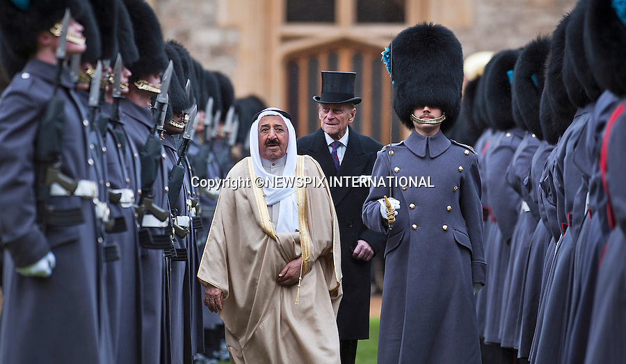 """STATE VISIT BY THE AMIR OF KUWAIT.The Amir of the State of Kuwait, accompanied by The Duke of Edinburgh, reviewed a Guard of Honour in the quadrangle of Windsor Castle at the start of the State Visit to the United Kingdom..The Amir was the guest of the Queen and stayed at Windsor castle_27/11/2012.Mandatory Credit Photo: ©A Harlen/NEWSPIX INTERNATIONAL..**ALL FEES PAYABLE TO: """"NEWSPIX INTERNATIONAL""""**..IMMEDIATE CONFIRMATION OF USAGE REQUIRED:.Newspix International, 31 Chinnery Hill, Bishop's Stortford, ENGLAND CM23 3PS.Tel:+441279 324672  ; Fax: +441279656877.Mobile:  07775681153.e-mail: info@newspixinternational.co.uk"""