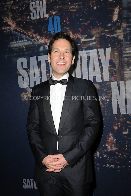 WWW.ACEPIXS.COM<br /> February 15, 2015 New York City<br /> <br /> Paul Rudd walking the red carpet at the SNL 40th Anniversary Special at 30 Rockefeller Plaza on February 15, 2015 in New York City.<br /> <br /> Please byline: Kristin Callahan/AcePictures<br /> <br /> ACEPIXS.COM<br /> <br /> Tel: (646) 769 0430<br /> e-mail: info@acepixs.com<br /> web: http://www.acepixs.com