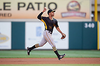 Bradenton Marauders second baseman Trae Arbet (26) throws to first base during the second game of a doubleheader against the Lakeland Flying Tigers on April 11, 2018 at Publix Field at Joker Marchant Stadium in Lakeland, Florida.  Bradenton defeated Lakeland 1-0.  (Mike Janes/Four Seam Images)
