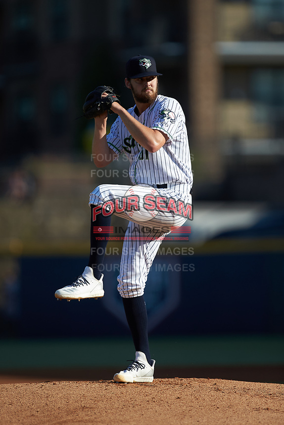 Gwinnett Stripers starting pitcher Ian Anderson (51) in action against the Scranton/Wilkes-Barre RailRiders at BB&T BallPark on August 18, 2019 in Lawrenceville, Georgia. The RailRiders defeated the Stripers 9-3. (Brian Westerholt/Four Seam Images)