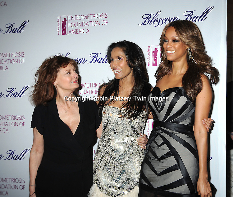 Susan Sarandon, Padma Lakshmi and Tyra Banks attend the Endometriosis Foundation of America 4th Annual  Blossom Ball on March 15, 2012 at The New York Public Library in New York City.