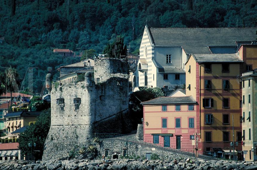 Cityscape along coastline. St. Margarita, Italy Europe.