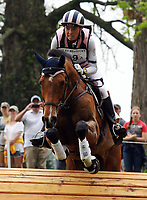 LEXINGTON, KY - April 29, 2017. #19 Ballylaffin Bracken and Kristin Schmolze from the USA on the Cross Country course at the Rolex Three Day Event at the Kentucky Horse Park.  Lexington, Kentucky. (Photo by Candice Chavez/Eclipse Sportswire/Getty Images)