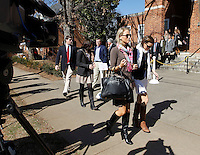 CHARLOTTESVILLE, VA - FEBRUARY 15: Yeardley Love's sister Lexie ove, middle, walks with family and friends outside the Charlottesville Circuit courthouse for the George Huguely trial. Huguely was charged in the May 2010 death of his girlfriend Yeardley Love. She was a member of the Virginia women's lacrosse team. Huguely pleaded not guilty to first-degree murder. (Credit Image: © Andrew Shurtleff