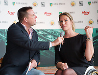 09-01-14, Netherlands, Rotterdam, TC Kralingen, ABNAMROWTT Press-conference,Tournament director wheelchair tennis Ester Vergeer with speaker Edward van Cuilenborg.<br /> Photo: Henk Koster