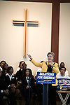 January 25, 2008. Columbia, SC.. Presidential candidate and former 1st lady, Hillary Clinton campaigned today at Benedict College, packing the campus chapel one day ahead of the South Carolina primary.