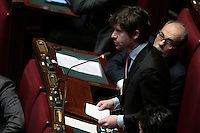 Pippo Civati<br /> Roma 25-02-2014 Camera. Voto di fiducia al nuovo Governo.<br /> Senate. Trust vote for the new Government.<br /> Photo Samantha Zucchi Insidefoto