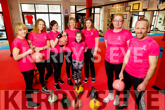 Ready to swing for the Kingdom Kettlebell Club's 10k swingathon for Cancer fundraiser challenge in their club in Tralee on Saturday. <br /> Front l to r: Kathleen White and Alan Guilfoyle.<br /> Back l to r:  Emer Quill, Sharon and Eyvonne Keys, Catriona, Meabh and Katie Kennedy,