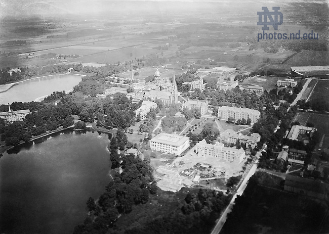 GNDS 5/47:  Aerial view of campus, c1924..Image from the University of Notre Dame Archives.