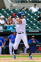 Iowa Cubs shortstop Ryan Court (13) at bat during a Pacific Coast League game against the Colorado Springs Sky Sox on June 23, 2018 at Principal Park in Des Moines, Iowa. Colorado Springs defeated Iowa 4-2. (Brad Krause/Four Seam Images)