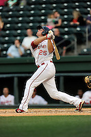 Catcher Ben Moore (25) of the Greenville Drive bats in a game against the Lexington Legends on Tuesday, April 14, 2015, at Fluor Field at the West End in Greenville, South Carolina. Lexington won, 5-3. (Tom Priddy/Four Seam Images)