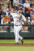 Virginia Cavaliers shortstop Daniel Pinero (22) makes a throw to first base during the NCAA College baseball World Series against the Florida Gators on June 15, 2015 at TD Ameritrade Park in Omaha, Nebraska. Virginia defeated Florida 1-0. (Andrew Woolley/Four Seam Images)
