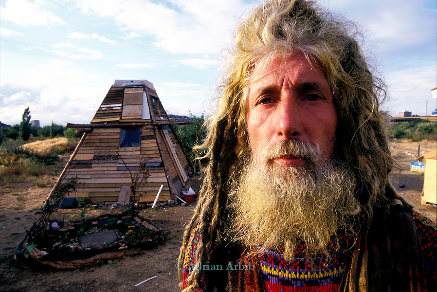 John Pendragon - at the  site of the Pure Genius - Wandsworth  Eco village.  A land occupation set up to high light the  over-abundance of luxury development along the banks of the Thames in central London.