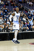 Washington, DC - MAR 10, 2018: Rhode Island Rams guard Jared Terrell (32) is fired up after a late run to take the lead in the 4th quarter during the semi final match up of the Atlantic 10 men's basketball championship between Saint Joseph's and Rhode Island at the Capital One Arena in Washington, DC. (Photo by Phil Peters/Media Images International)