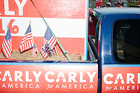 Campaign signs for Republican presidential candidate Carly Fiorina adorn a car in the Labor Day parade in Milford, New Hampshire. Republican candidates John Kasich, Carly Fiorina, and Lindsey Graham, and Democratic candidate Bernie Sanders marched in the parade.