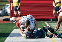 WASHINGTON, DC - FEBRUARY 16: Brock Staller #11 of the Seattle Seawolves brings down Doug Fraser #14 of Old Glory DC during a game between Seattle Seawolves and Old Glory DC at Cardinal Stadium on February 16, 2020 in Washington, DC.