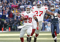 27 Nov 2005:  New York Giants kick returner #29 Chad Morton returned a First quarter kickoff the length of the field but had it called back on a holding flag at Quest Field in Seattle, WA.