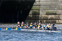 Mortlake/Chiswick, GREATER LONDON. United Kingdom. Peterborough City Rowing Club, W.MasA.8+, competing in the 2017 Vesta Veterans Head of the River Race, The Championship Course, Putney to Mortlake on the River Thames.<br /> <br /> <br /> Sunday  26/03/2017<br /> <br /> [Mandatory Credit; Peter SPURRIER/Intersport Images]