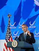 United States President Barack Obama speaks at the 2016 Our Ocean Conference at the State Department, September 15 2016, in Washington, DC. On Thursday the President will establish the first national marine monument in the Atlantic, a move that's designed to permanently protect nearly 5,000 square miles of underwater canyons and mountains off the coast of New England.<br /> Credit: Olivier Douliery / Pool via CNP