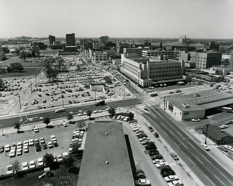 1966 May 05..Redevelopment.Downtown North (R-8)..looking South on Monticello Avenue from Golden Triangle Motel.Post Office on right..HAYCOX PHOTORAMIC INC..NEG# 66-373-5.NRHA#..