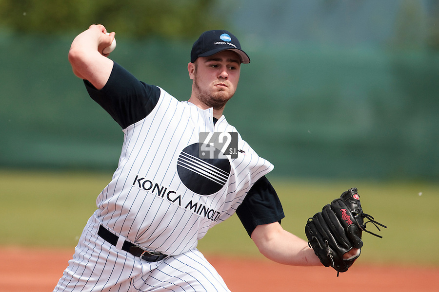 04 June 2010: Starting pitcher Shane Gnade of Konica Minolta Pioniers pitches againts Rouen during the 2010 Baseball European Cup match won 19-9 by Konica Minolta Pioniers over the Rouen Huskies, at the Kravi Hora ballpark, in Brno, Czech Republic.