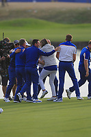 Alex Noren (Team Europe) celebrates winning his match on the 18th green during the Sunday Singles of the Ryder Cup, Le Golf National, Ile-de-France, France. 30/09/2018.<br /> Picture Thos Caffrey / Golffile.ie<br /> <br /> All photo usage must carry mandatory copyright credit (© Golffile | Thos Caffrey)