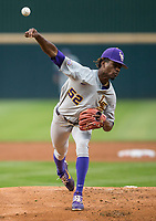 NWA Democrat-Gazette/BEN GOFF @NWABENGOFF<br /> Ma'Khail Hilliard pitches for LSU in the 1st inning vs Arkansas Thursday, May 9, 2019, at Baum-Walker Stadium in Fayetteville.