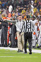 Oklahoma State Head Coach Mike Gundy reacts to a call during second half of an NCAA football game, Saturday, November 22, 2014 in Waco, Tex. Baylor defeated Oklahoma State 49-28. (Mo Khursheed/TFV Media via AP Images)