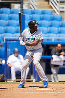 Daytona Tortugas first baseman Ibandel Isabel (49) at bat during a game against the Dunedin Blue Jays on April 22, 2018 at Dunedin Stadium in Dunedin, Florida.  Daytona defeated Dunedin 5-1.  (Mike Janes/Four Seam Images)
